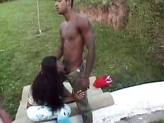 Black dude fucks a stunning shemale without mercy