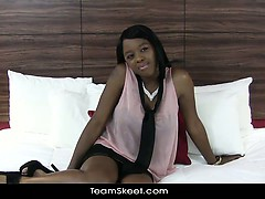 TeenyBlack Natural tits ebony swallows cum