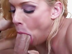 Horny slut Heidi Mayne swallows down cock and drinks its contents