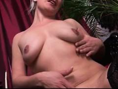 Horny blonde whore goes crazy dildo part1